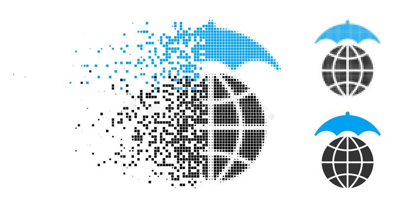Rastrerad global paraplysymbol för brutet PIXEL vektor illustrationer