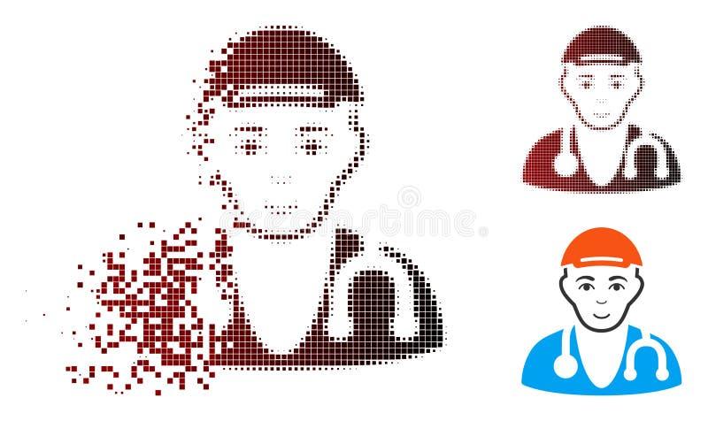 Rastrerad läkaredoktor Icon för skadat PIXEL med framsidan vektor illustrationer