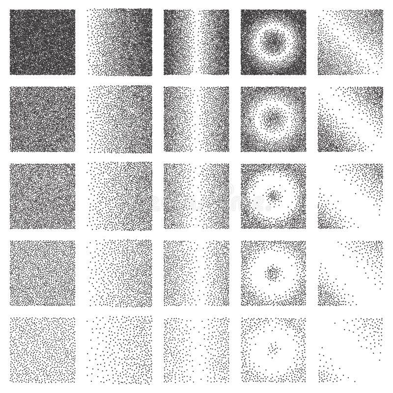Rastrerad modell- eller textursamling Uppsättningen av punkterar Dot Backgrounds med fyrkanter royaltyfri illustrationer