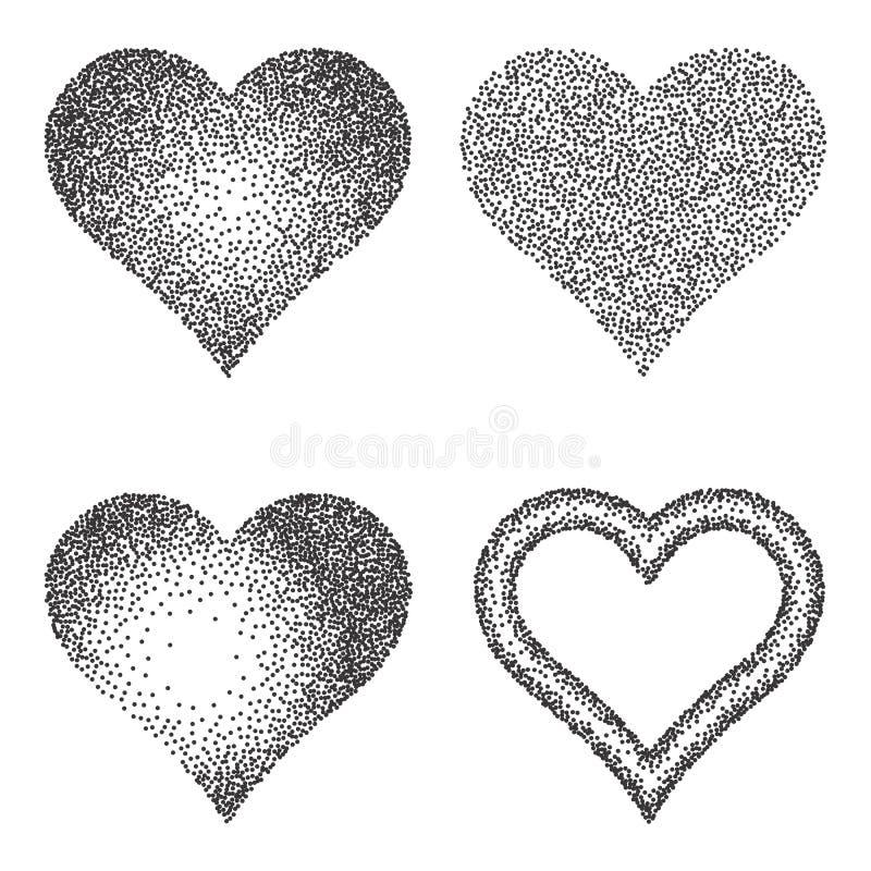 Rastrerad modell- eller textursamling Uppsättningen av punkterar Dot Backgrounds med hjärtor royaltyfri illustrationer