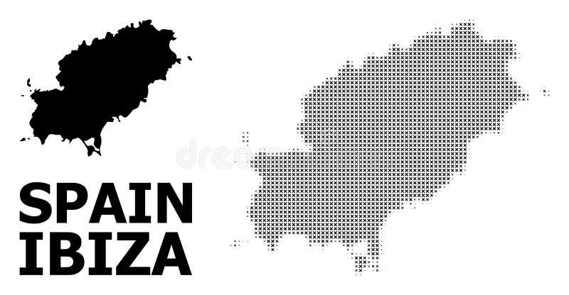 Rastrerad modell för vektor och fast översikt av den Ibiza ön stock illustrationer