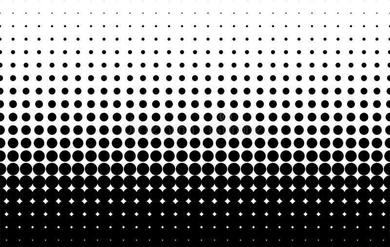 Rastrerad modell Komisk bakgrund Prickig retro bakgrund med cirklar, prickar svart white vektor illustrationer