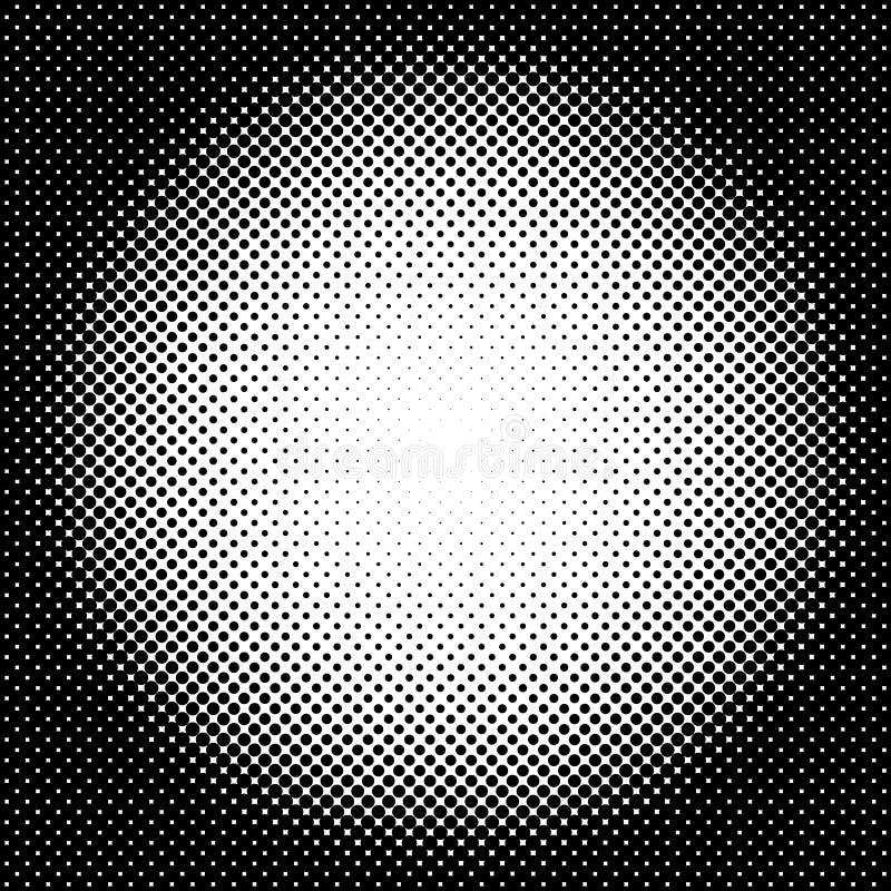 Rastrerad modell/textur för cirkel Monokromma halvtonprickar stock illustrationer