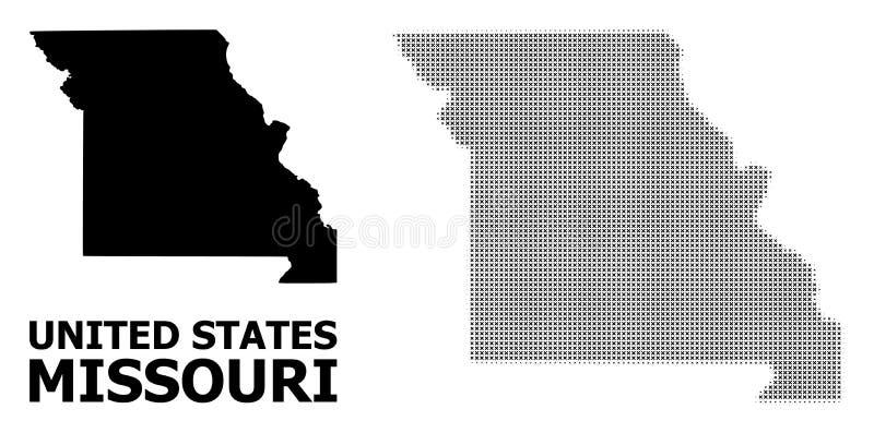 Rastrerad mosaik för vektor och fast översikt av den Missouri staten vektor illustrationer