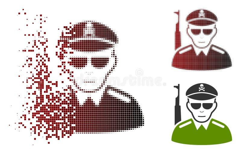 Rastrerad ond armésoldat Icon för skadat PIXEL royaltyfri illustrationer