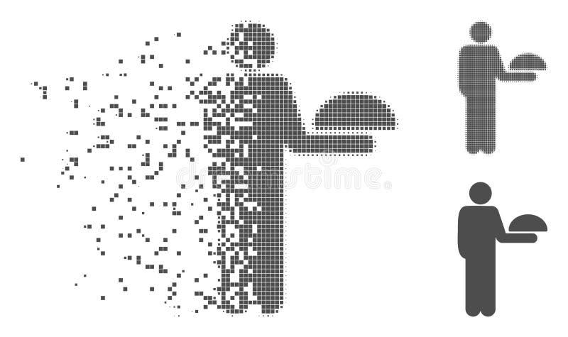 Rastrerad stående uppassare Icon för splittrat PIXEL vektor illustrationer