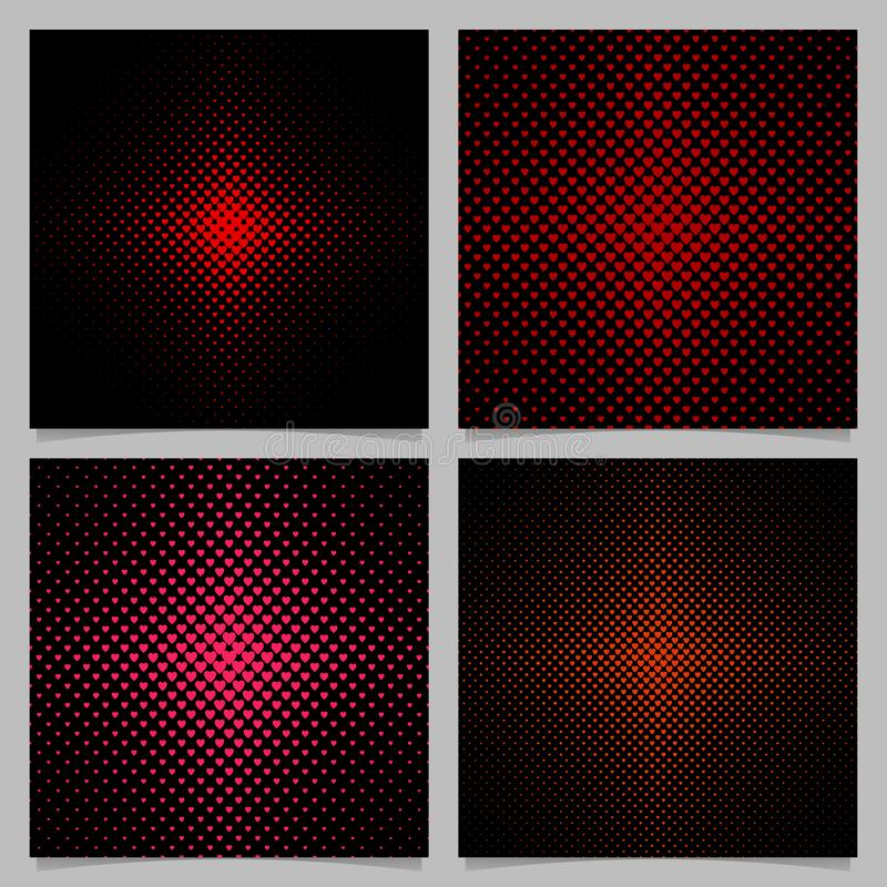 Rastrerad uppsättning för hjärtamodellbakgrund - grafiska designer för vektorförälskelsebegrepp med röda hjärtor vektor illustrationer