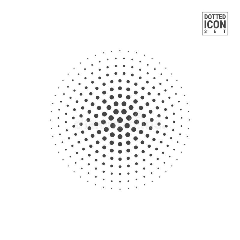 Rastrerad vektorcirkel som isoleras på vit bakgrund Halva Tone Circle Made av Dots Pattern vektor illustrationer