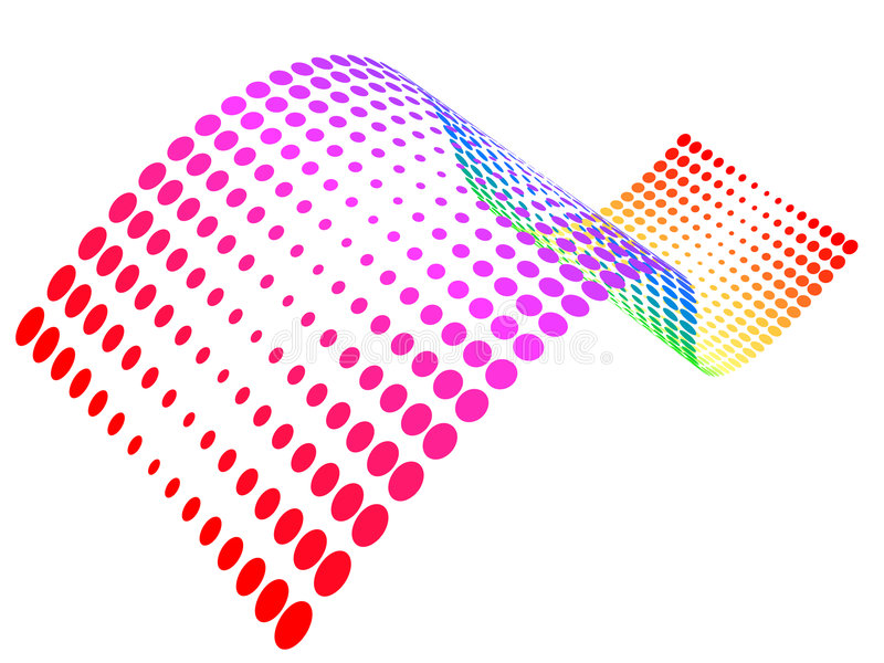 rastrerad wave för färgrika prickar royaltyfri illustrationer