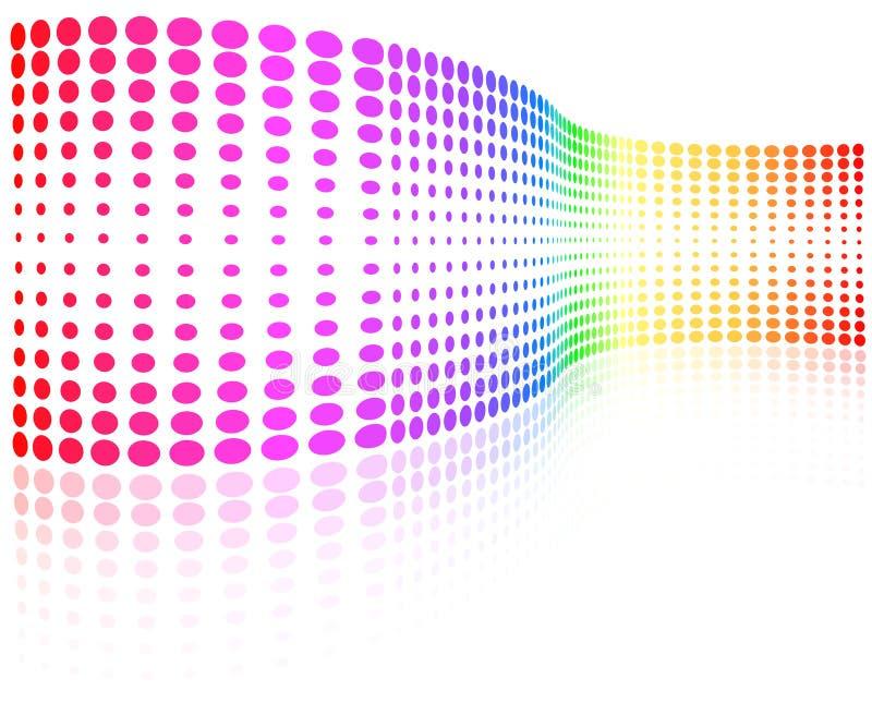 rastrerad wave för färgrika prickar stock illustrationer