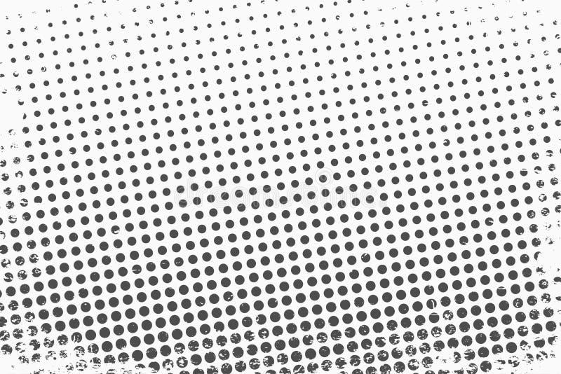 Rastrerade prickar Monokrom vektortexturbakgrund för prepress, DTP, komiker, affisch Mall för stil för popkonst vektor illustrationer