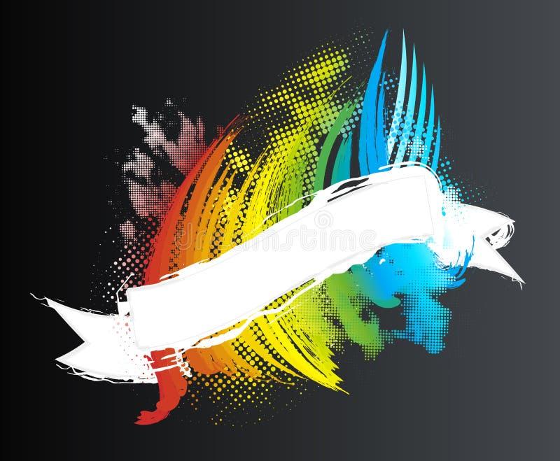 rastrerat regnbågeband för baner stock illustrationer