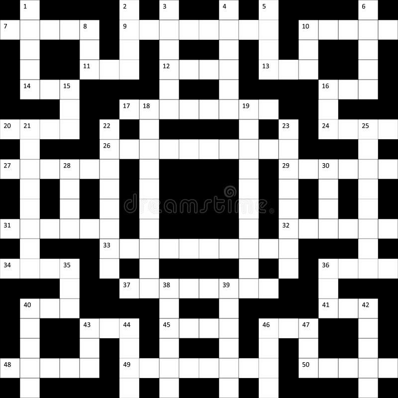 Rastret för korsordpusslet med nummer är tomt stock illustrationer