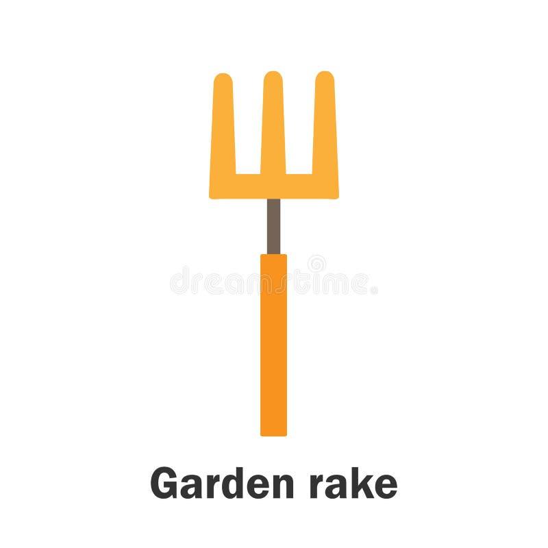 Rastrillo de jardín en estilo de la historieta, tarjeta de la primavera para el niño, actividad preescolar para los niños, ejempl stock de ilustración