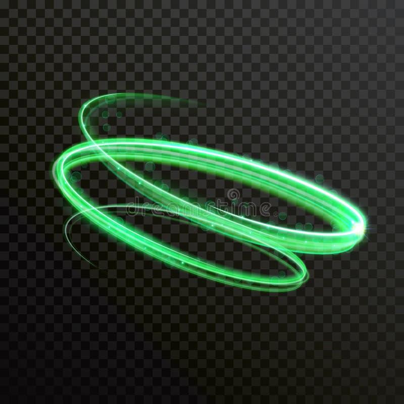 Rastro brillante del rastro del giro del vector verde de la luz de neón libre illustration