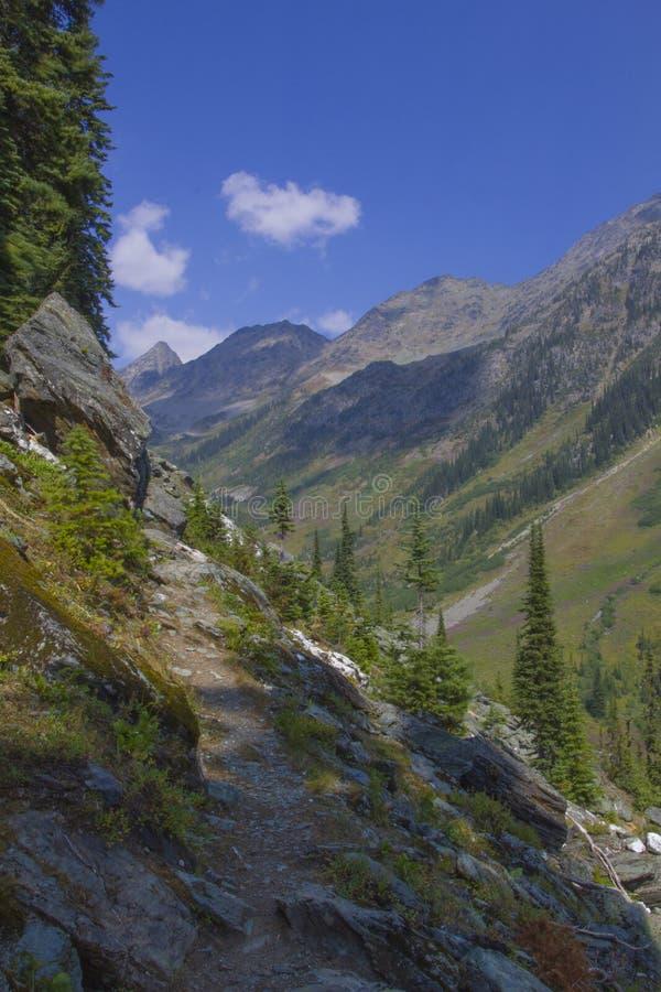 Rastro canadiense de Hking de las montañas rocosas fotografía de archivo