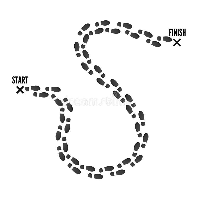 Rastro de la huella del punto del comienzo para acabar el perno Impresión negra de botas Ilustraci?n del vector aislada en el fon ilustración del vector