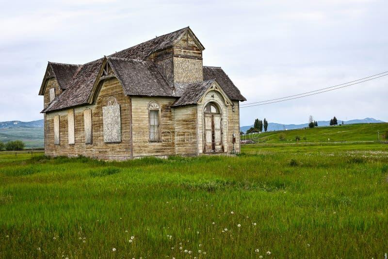 Rastro de Oregon, Ovid, Idaho, iglesia mormona anterior imagenes de archivo