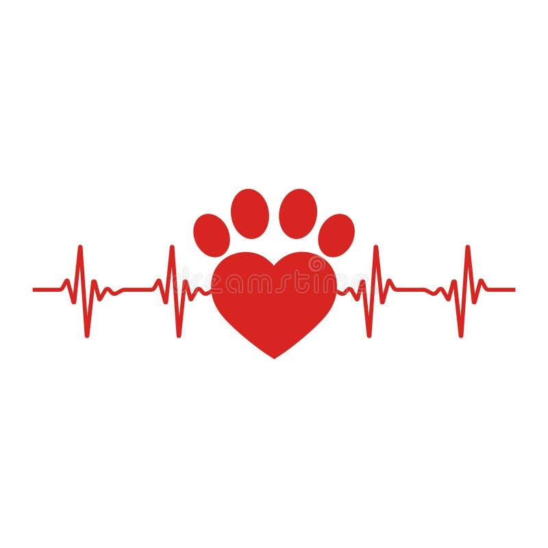 Rastro de un perro en la forma de un corazón con un pulso en un fondo blanco stock de ilustración