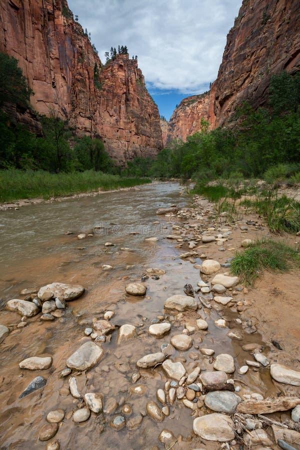 Rastro de Zion National Park Narrows, Utah foto de archivo libre de regalías