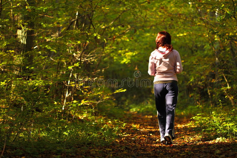 Rastro del campo a través de la mujer que camina en bosque del otoño imagen de archivo
