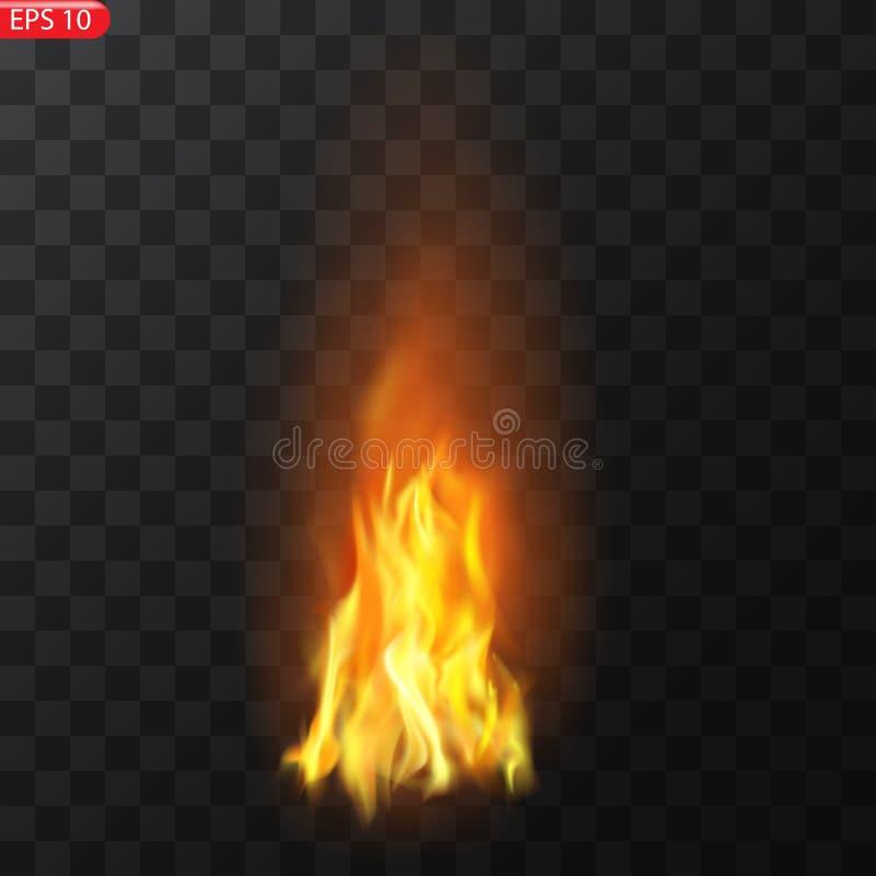 Rastro del fuego Efecto especial de los elementos translúcidos ardientes de las llamas El fuego ardiente realista flamea efecto d libre illustration