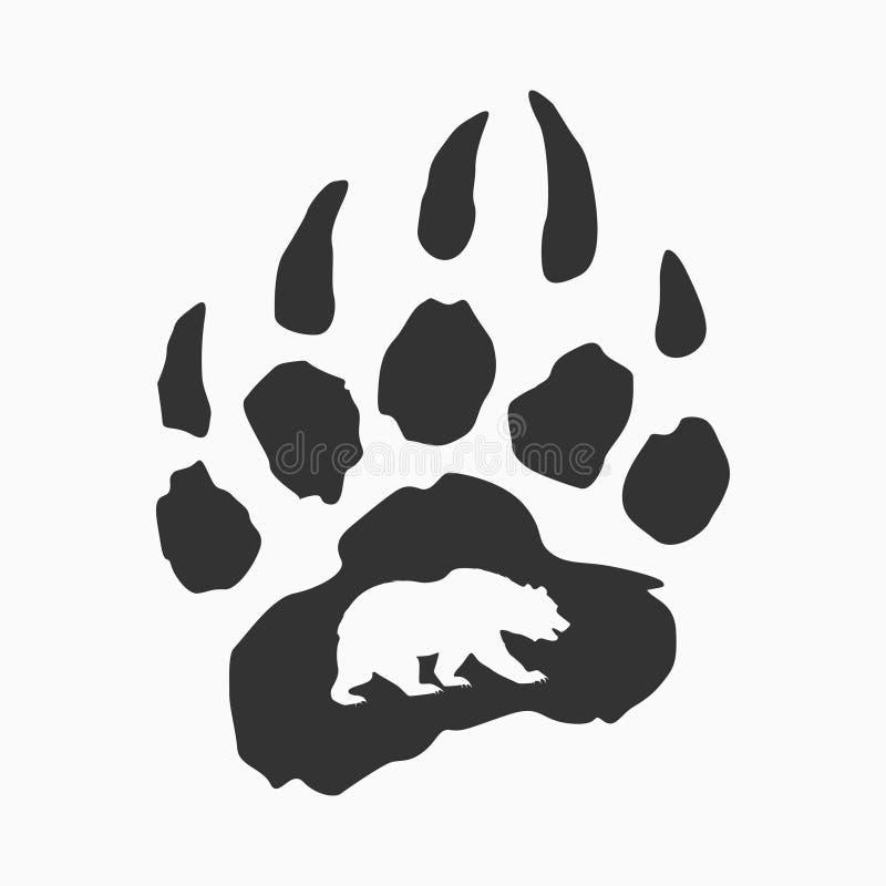 Rastro del oso, impresión de la camiseta, logotipo del vector stock de ilustración