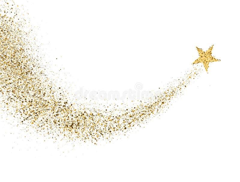 Rastro del polvo de estrella con las partículas chispeantes del brillo en el fondo blanco Cola del cometa del espacio del oro que stock de ilustración