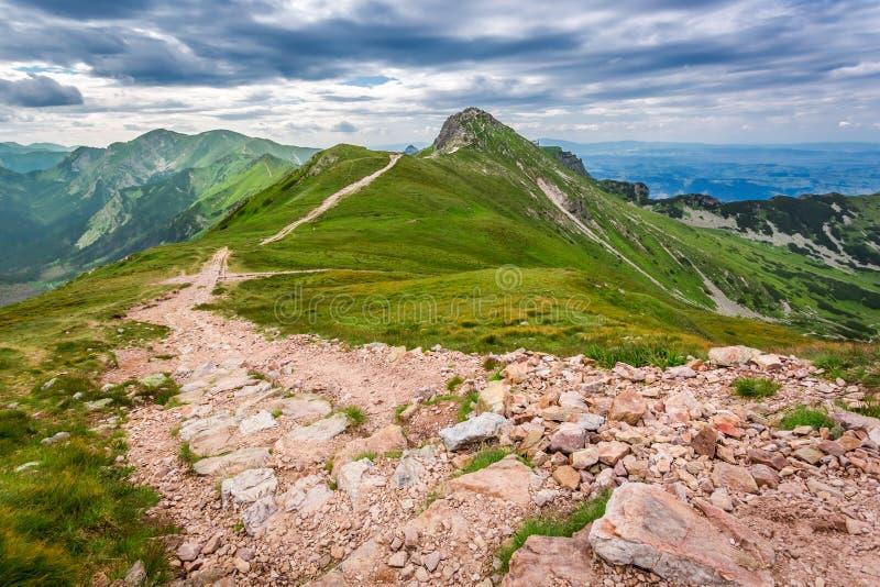 Rastro estrecho en las montañas de Tatras imagen de archivo libre de regalías