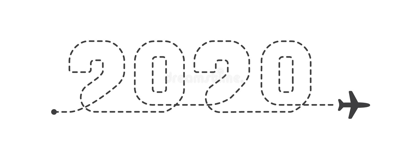 Rastro punteado del aeroplano 2020 Líneas planas de la ruta Aviones que siguen el ejemplo del vector de la trayectoria ilustración del vector