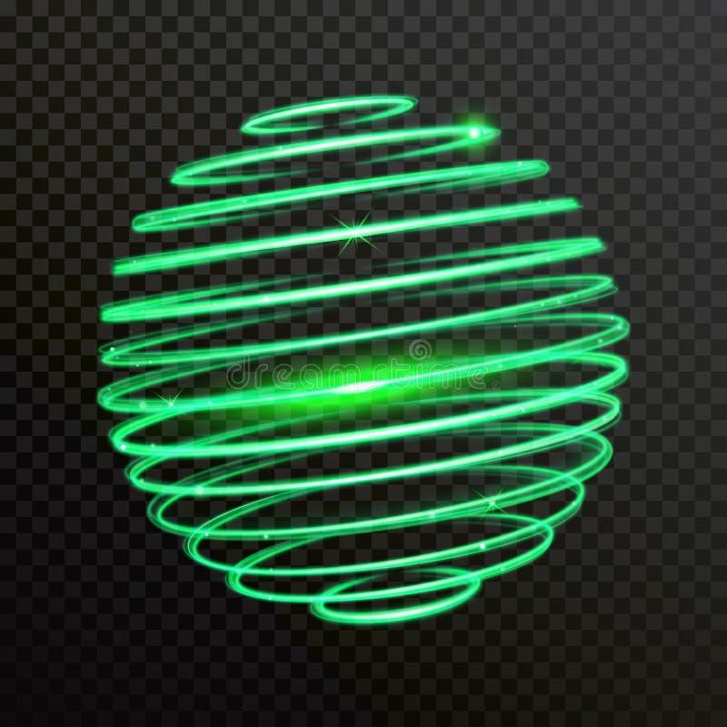 Rastro verde del rastro del vector de la esfera del espiral de la luz de neón libre illustration