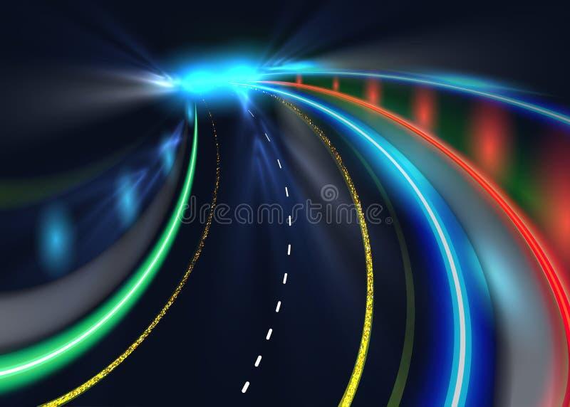 Rastros de la luz del coche del camino de ciudad Fondo de alta velocidad del vector Iluminación del camino con el ejemplo del mov ilustración del vector