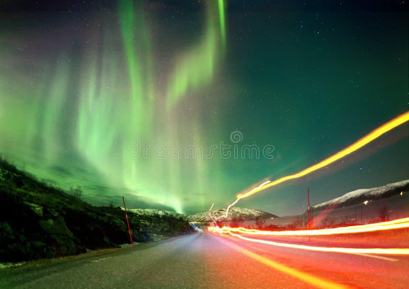 Rastros de la luz septentrional imagen de archivo