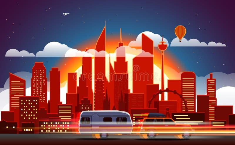 Rastros del coche en ciudad moderna libre illustration