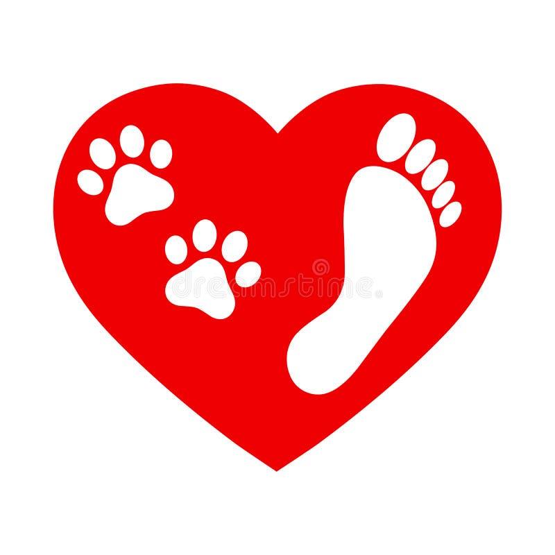 Rastros del icono de un perro y de un hombre en un coraz?n rojo en un fondo blanco stock de ilustración