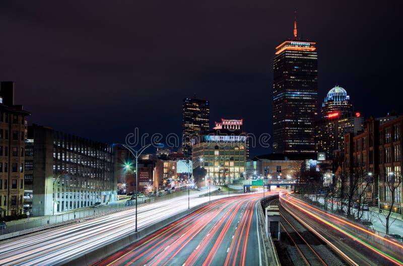 Rastros a través de Boston imagenes de archivo
