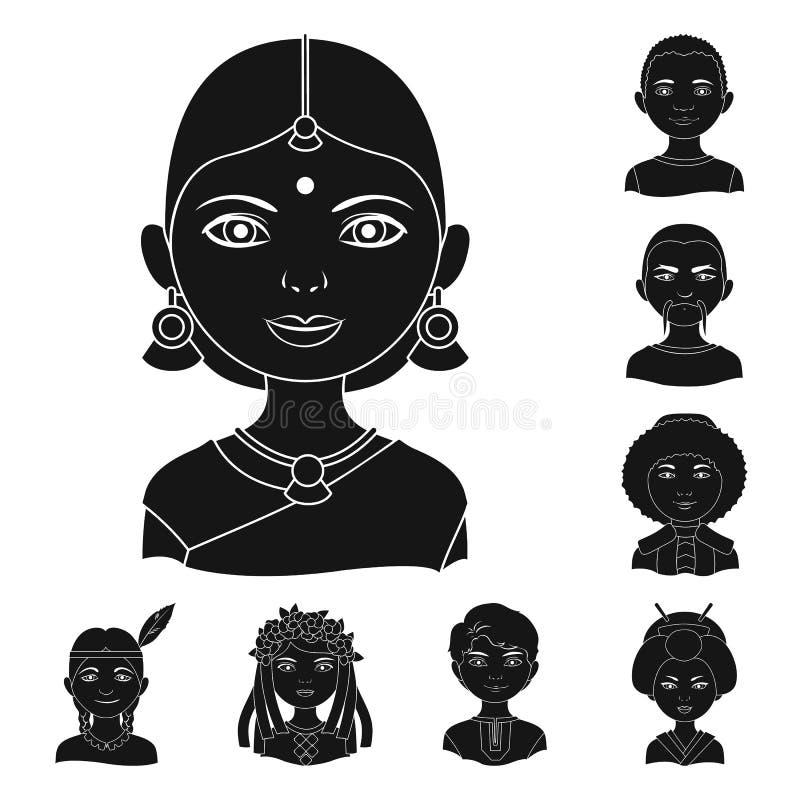 Rasy ludzkiej czerni ikony w ustalonej kolekci dla projekta Ludzie i narodowość wektorowy symbol zaopatrują sieci ilustrację royalty ilustracja