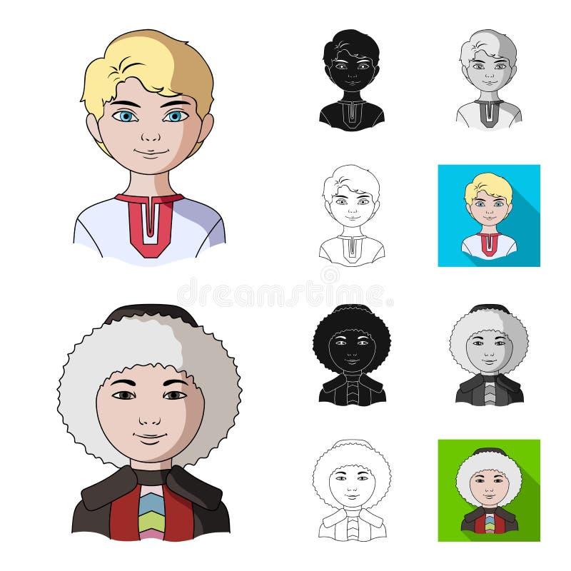 Rasy ludzkiej kreskówka, czerń, mieszkanie, monochrom, kontur ikony w ustalonej kolekci dla projekta Ludzie i narodowość wektor ilustracji