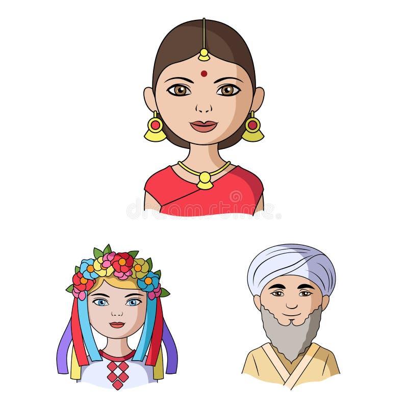Rasy ludzkiej kreskówki ikony w ustalonej kolekci dla projekta Ludzie i narodowość wektorowy symbol zaopatrują sieci ilustrację royalty ilustracja