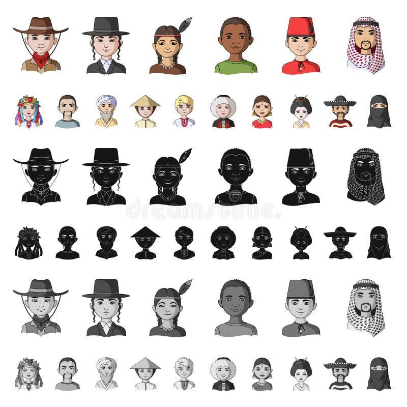 Rasy ludzkiej kreskówki ikony w ustalonej kolekci dla projekta Ludzie i narodowość wektorowy symbol zaopatrują sieci ilustrację ilustracji