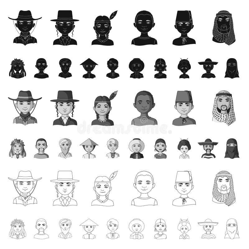 Rasy ludzkiej kreskówki ikony w ustalonej kolekci dla projekta Ludzie i narodowość wektorowy symbol zaopatrują sieci ilustrację ilustracja wektor