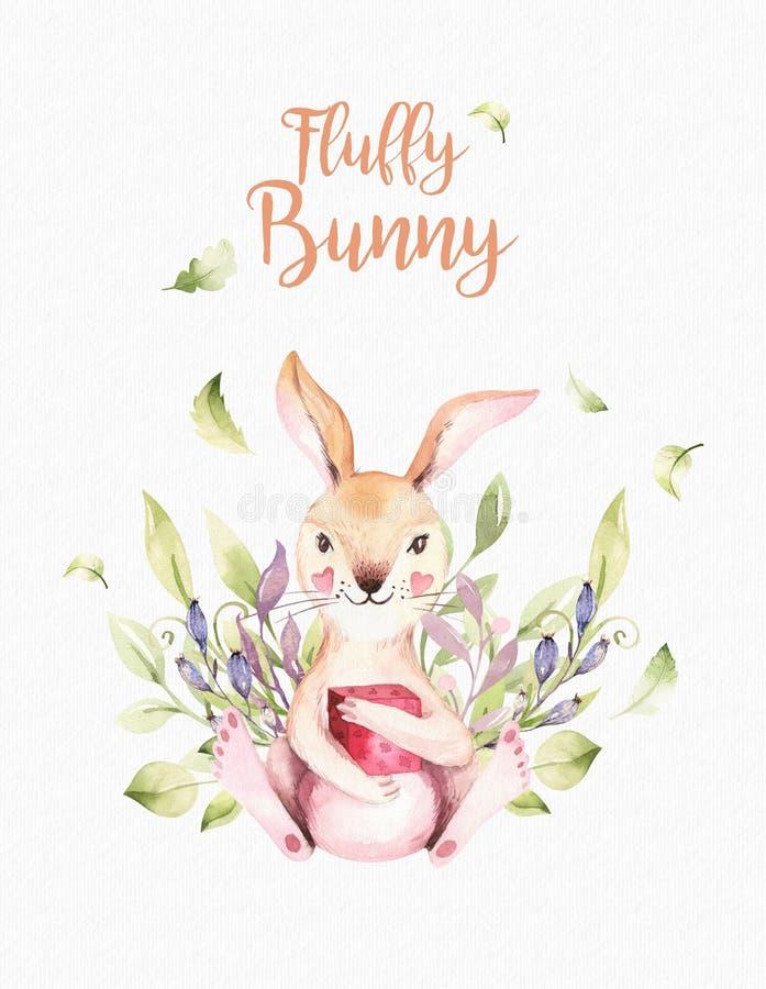 Ratón animal del cuarto de niños del bebé lindo, conejo y ejemplo aislado oso para los niños Dibujo del bosque del boho de la acu libre illustration