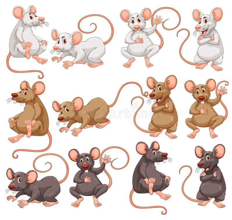 Ratón con diverso color de la piel stock de ilustración