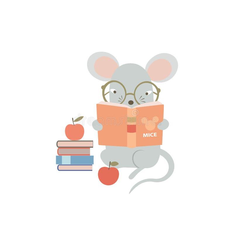 Ratón con gafas leyendo un libro Graciosa rata de caricatura estudiando duro Símbolo humanizado del zodiaco animal chino 2020 ilustración del vector