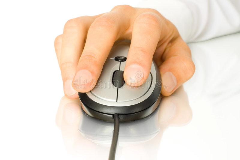 Ratón con la mano imagenes de archivo
