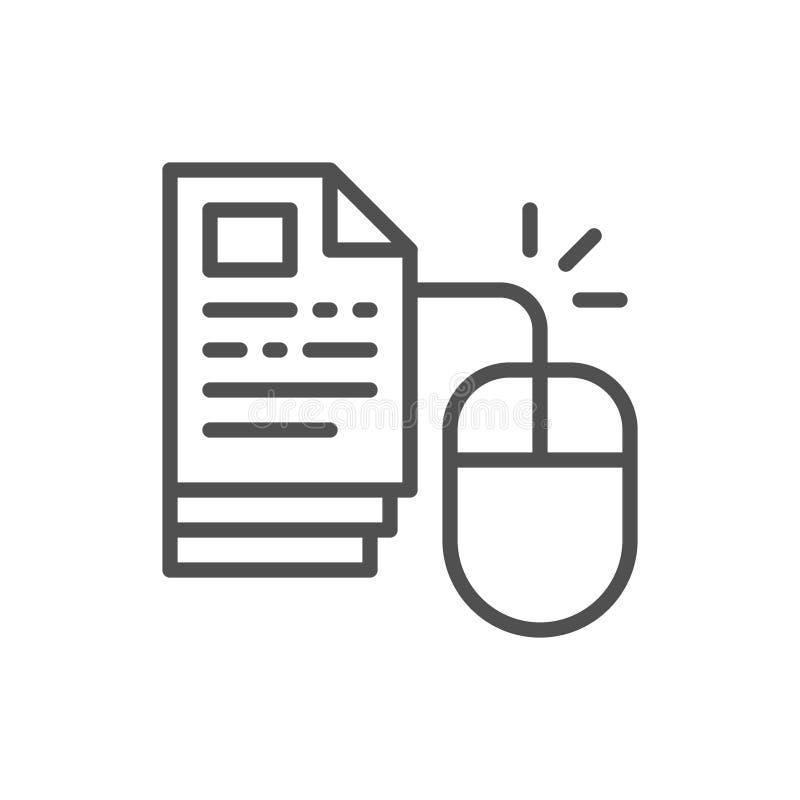 Rat?n con las p?ginas, educaci?n en l?nea del ordenador en un tecleo, l?nea icono de la biblioteca de la web libre illustration