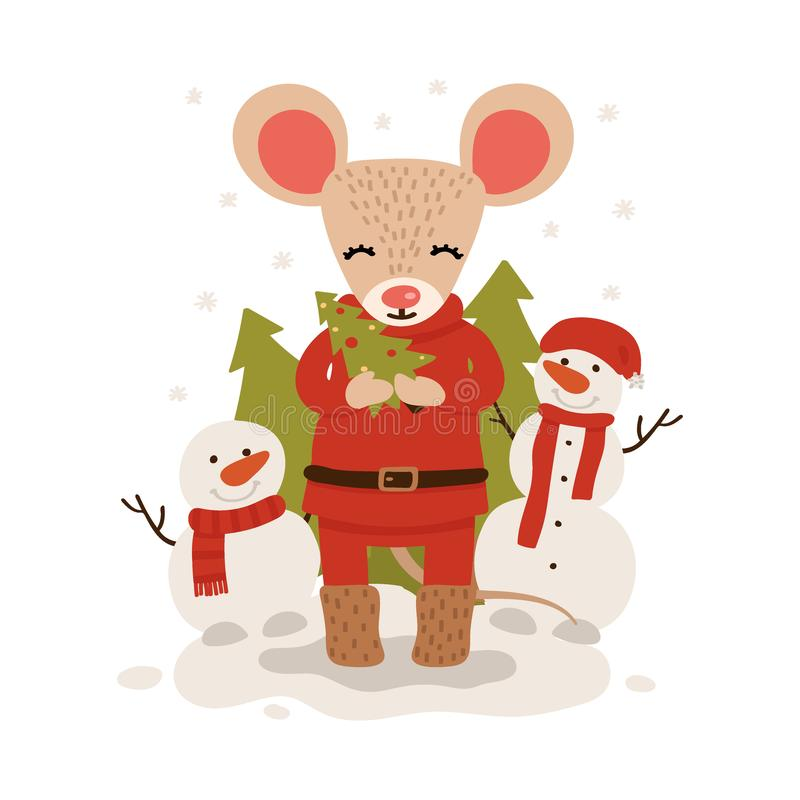 Ratón con los árboles de navidad Car?cter de la Navidad y del A?o Nuevo aislado en un fondo blanco postal Ejemplo del vector en ilustración del vector
