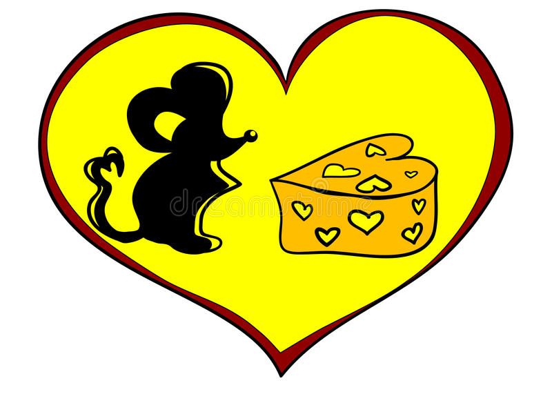 Ratón con queso stock de ilustración