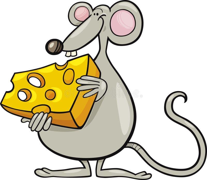 Ratón con queso ilustración del vector