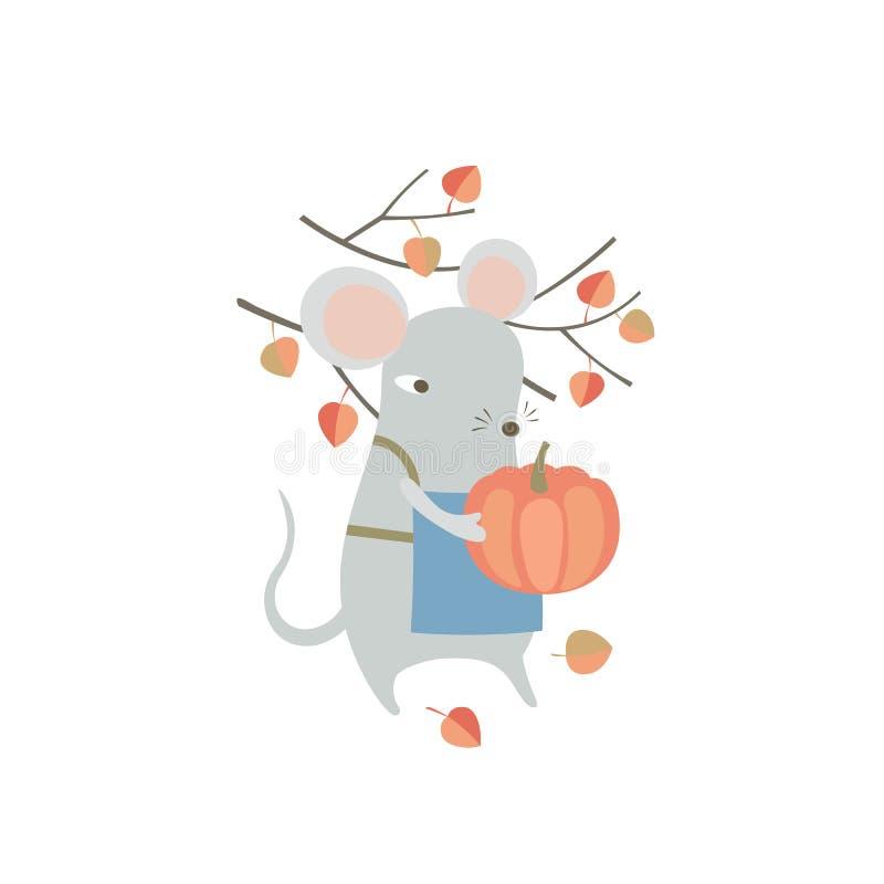 Ratón cortado sujetando una calabaza Graciosa rata de caricatura disfrutando de las actividades de cosecha de otoño. Símbolo huma ilustración del vector
